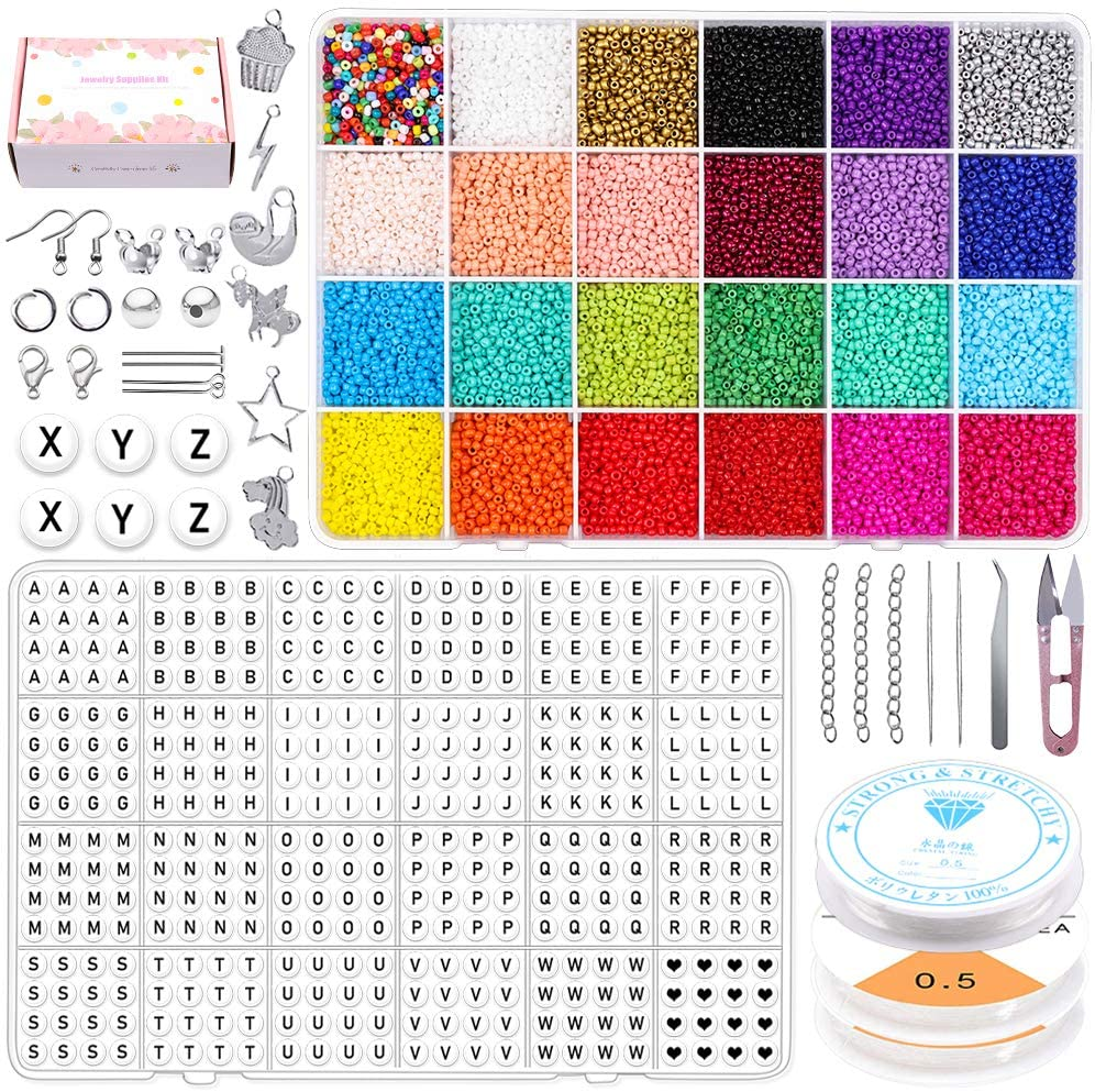 Jewelry Making Beads Kit, Gacuyi Multicolor 2mm 12/0 Glass Seed Beads Alphabet Letter Beads Opaque with Elastic String Gift Box for Girls Teen Making Friendship Bracelets Necklaces