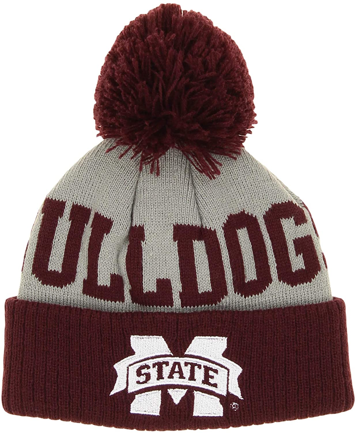 OuterStuff NCAA Infants Mississippi State Bulldogs Jacquard Cuffed Knit Pom Hat, 12 Months