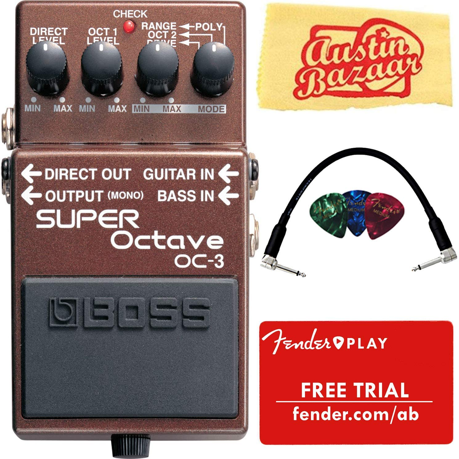 Boss OC-3 Super Octave Bundle with Fender Play Online Lessons, Picks, Patch Cable, and Austin Bazaar Polishing Cloth