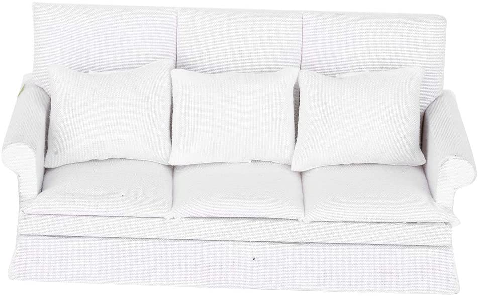 FAMKIT 1:12 Doll House Mini Sofa with 3pcs Pillow Living Room Furniture Wooden Doll House Decoration Accessories(White )