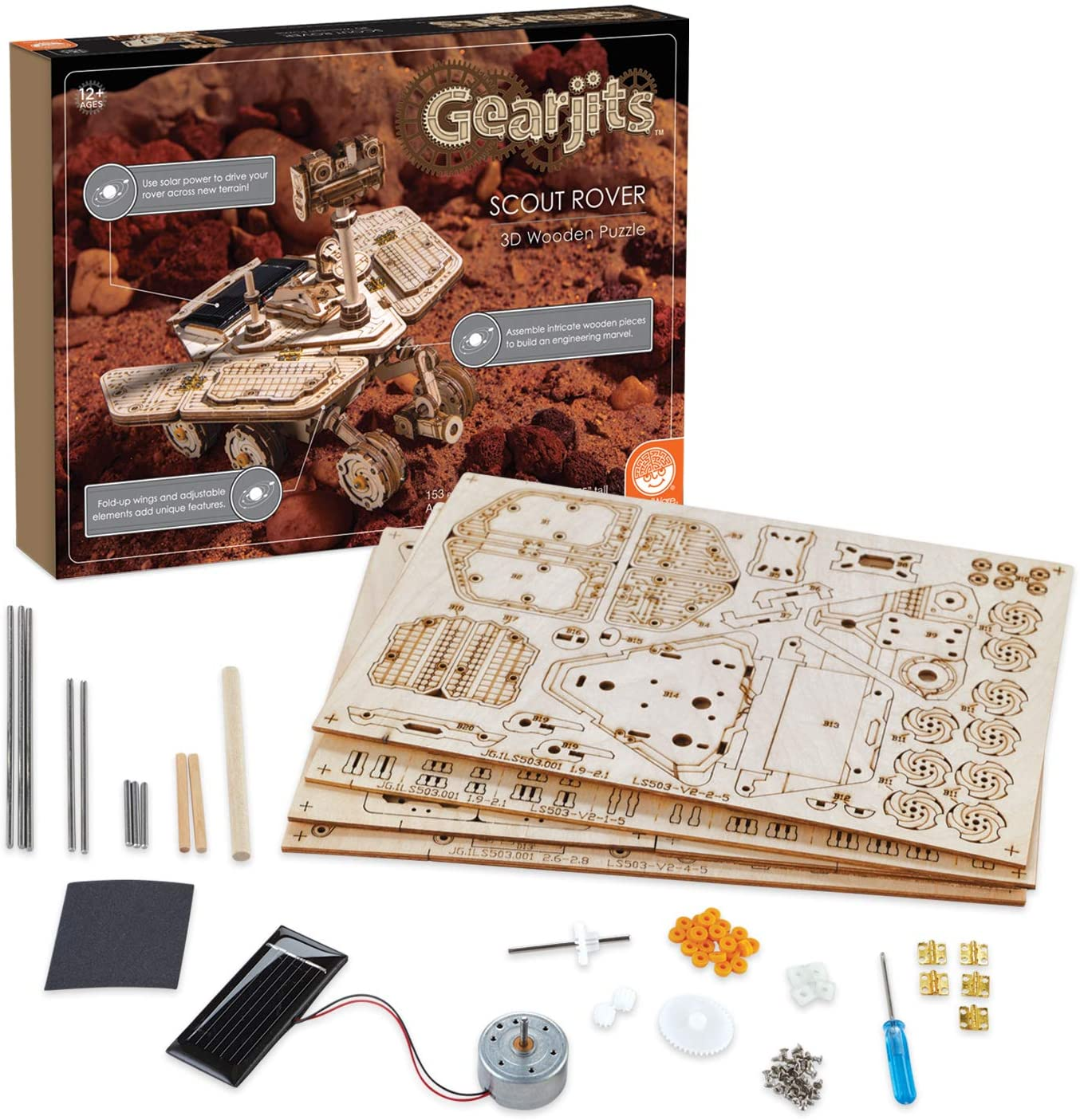 MindWare Gearjits: Solar-Powered Scout Rover – 153pc Wooden 3D Building Puzzle for Teens & Adults – DIY Construction Model – Fun for Parents Too! – Great STEAM Gifts for Ages 12+