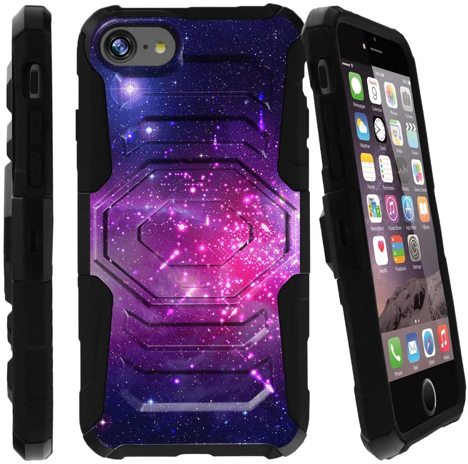 MINITURTLE Compatible with iPhone 7| iPhone 7s Phone Case [Armor Reloaded] Impact Resistant iPhone 7 Case w/Holster and Builtin Stand Heavenly Stars