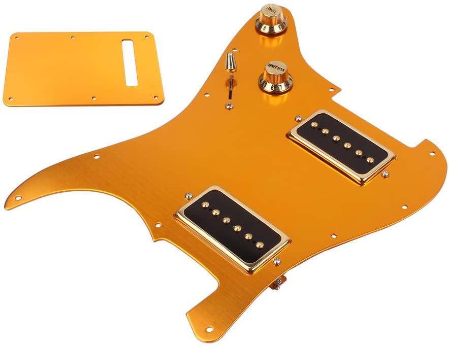 Homyl Durable SS Alloy Prewired Alnico V Pickup Pickguard Set for Strat Electric Guitar Gold