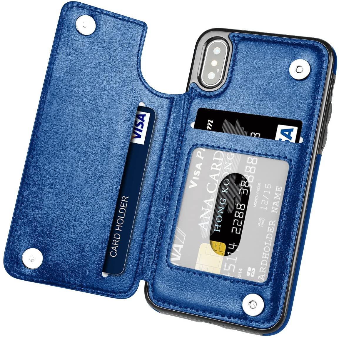 iPhone X Case,iPhone Xs Case, Hoofur Slim Fit Premium Leather iPhone Xs Wallet Case Card Slots Shockproof Folio Flip Protective Shell for Apple iPhone X/Xs (5.8 inch) (Blue)