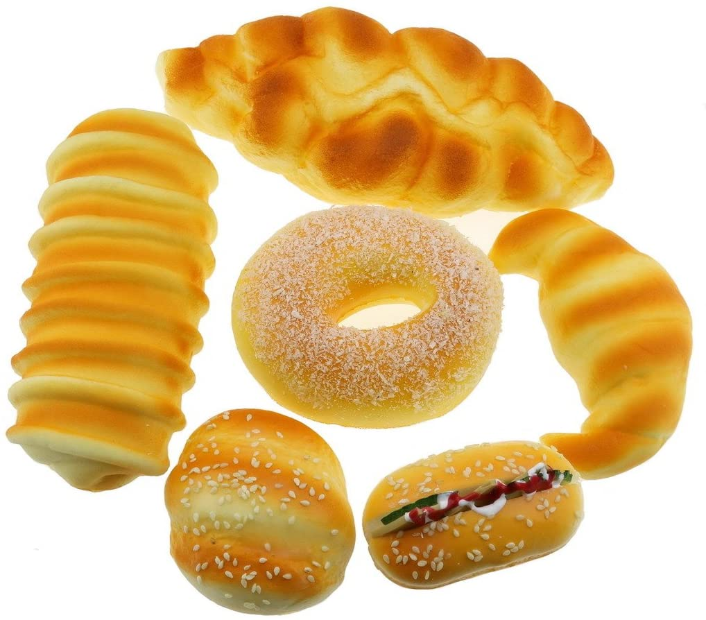 Gresorth Fake Bread Artificial Sesame Donuts Horns Bread Collection Home Party Decoration - 6 PCS