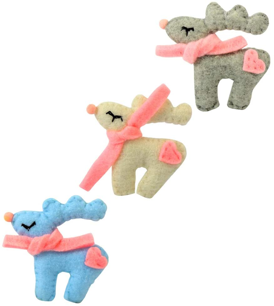 PRETYZOOM 3pcs Needle Felting Kit Wool Roving Christmas Reindeer Needle Felting Starter Kit for Xmas Holiday Party Supplies Goodie Bags Fillers