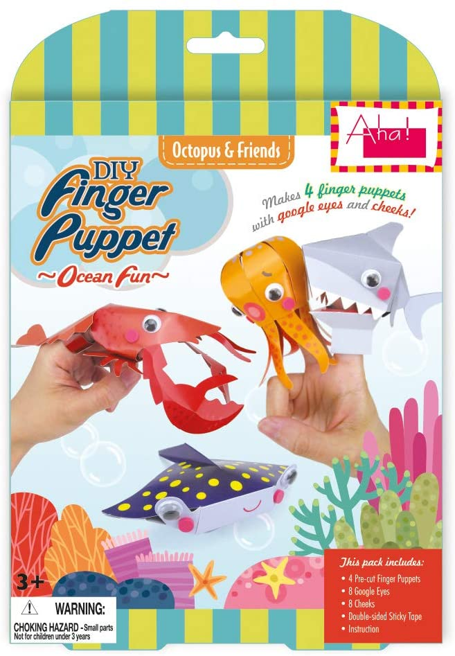 Aha! Designs Ocean Fun DIY Finger Puppet Making Kit Educational Toy with Google Eyes for 3+ Kids (Octopus & Friends)