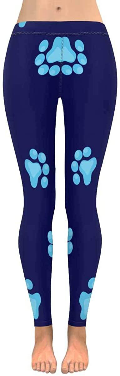 INTERESTPRINT Women's Stretchy Yoga Pants Animal Paw Print Dog Bone Pattern Full Length Active Leggings