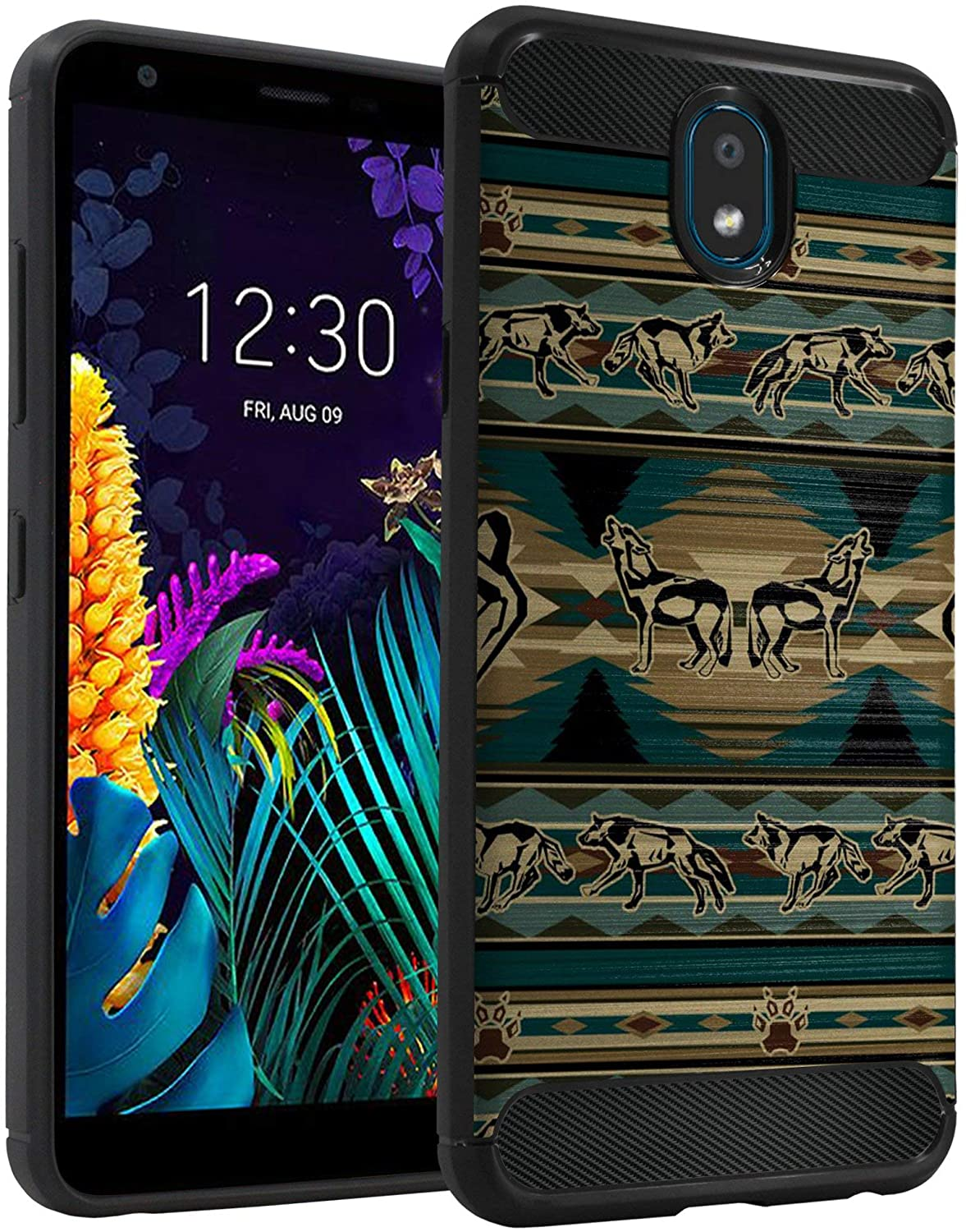 CasesOnDeck Case Compatible with [LG Aristo 4 / LG Aristo 4+ Plus/LG Prime 2/ Journey LTE] Design Case, Slim Black Flexible Sleek Shock Protection TPU Case (Green Wolf Tribal)