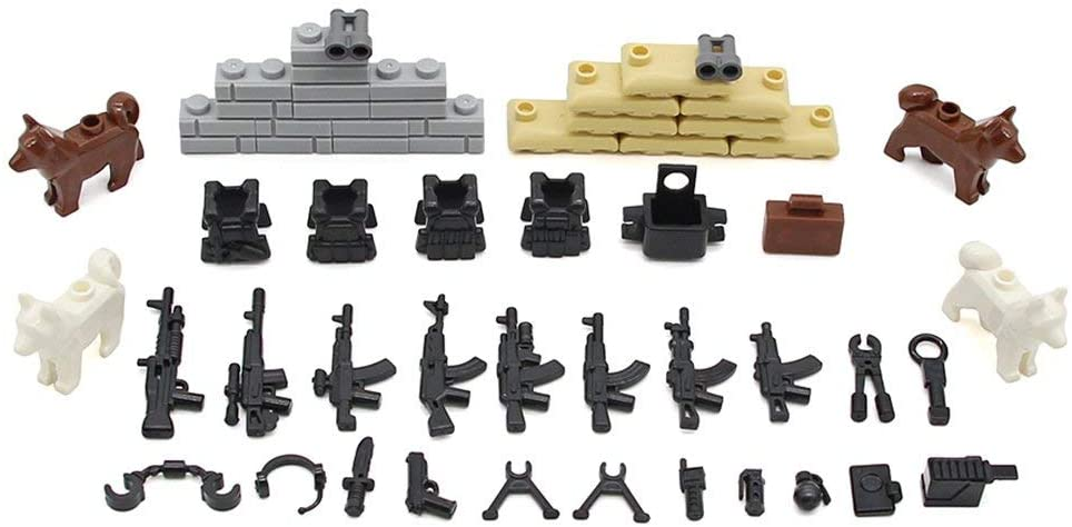 Feleph Military Toy Guns, Swat Building Blocks WW2 Bricks Play Set with Sanbag, Armor, and Other Accessories for Little Toy Figures, Compatible with Major Brands