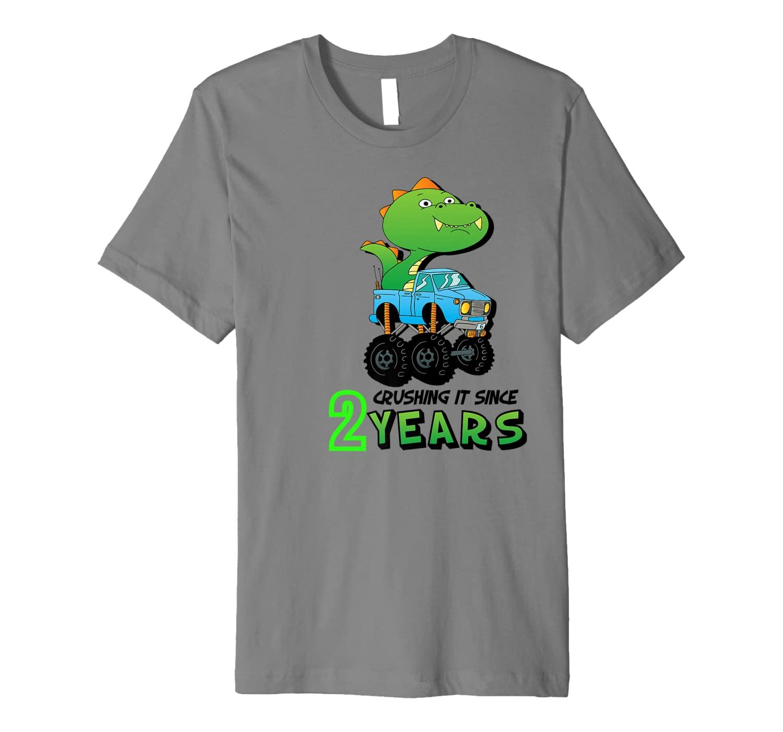 Crushing It Since 2 Years Monster Truck Dinosaur Birthday Premium T-Shirt