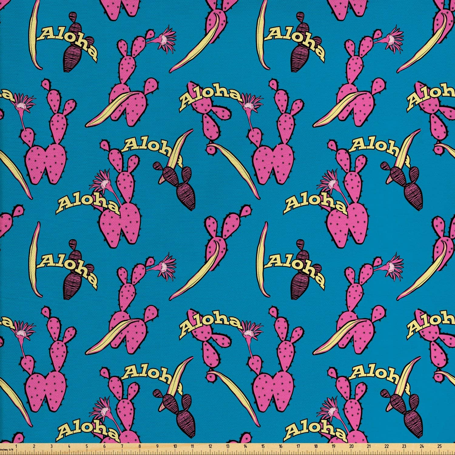 Ambesonne Aloha Fabric by The Yard, Cartoon Style Demonstration of Colorful Spiky Cactus with Typography, Decorative Fabric for Upholstery and Home Accents, 1 Yard, Sea Blue Pink and Yellow