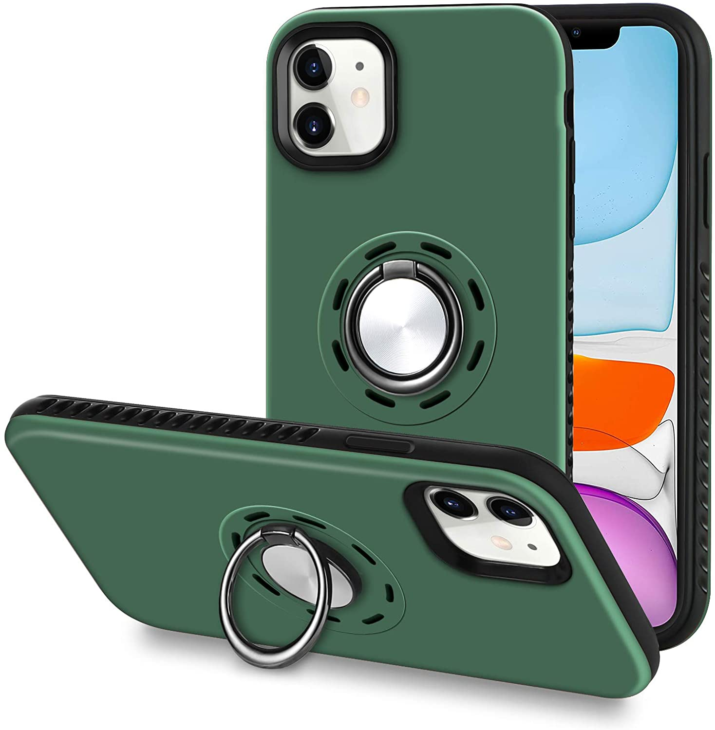 Casehome for iPhone 11 Case 6.1 inch (2019), Armor Military Grade Shockproof Full Protective Phone Cover with 360 Rotatable Ring Stand Holder Magnetic Car Mount for iPhone 11 6.1 inch - Green.