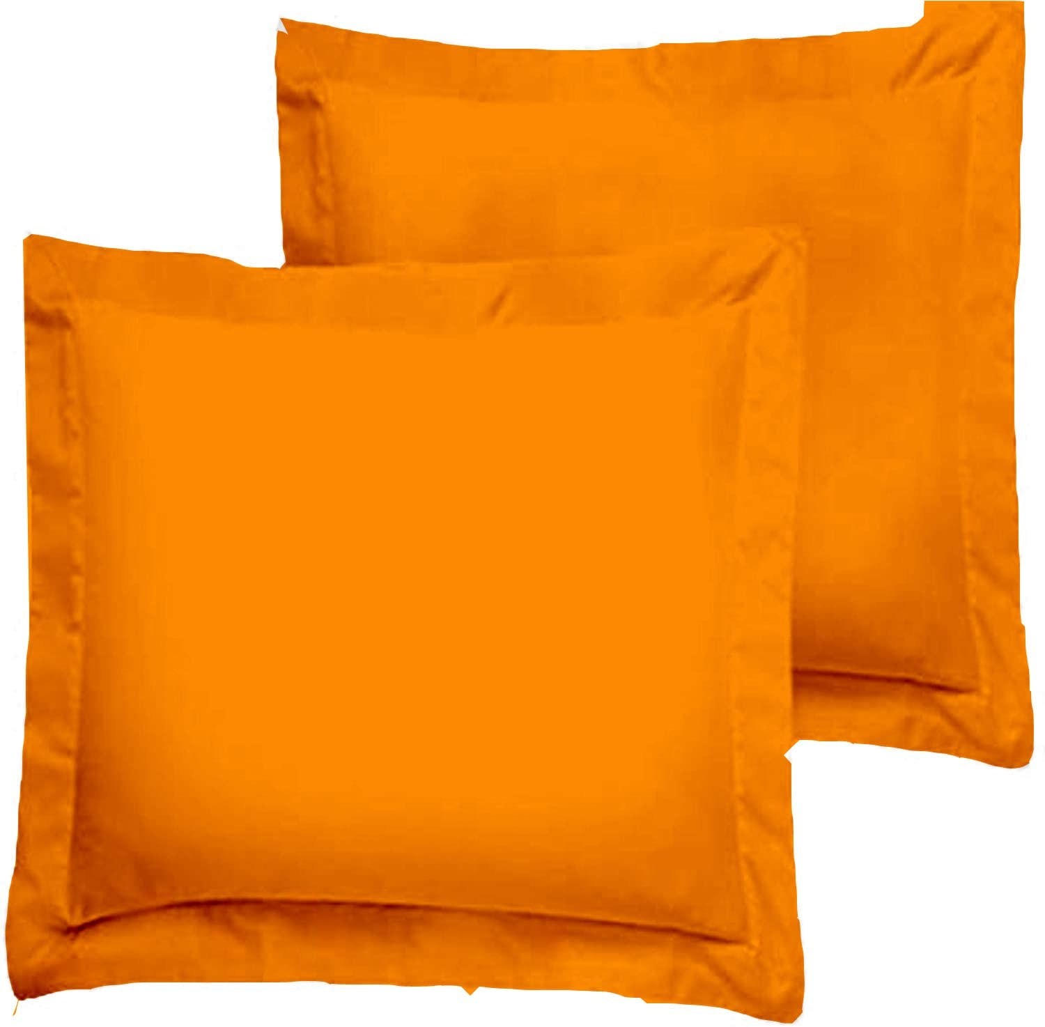 Trust Layer 800 Thread Count 100% Organic Cotton Throw Pillow Sized 20 x 20 inch Pillow Shams Set of 2 Orange Solid