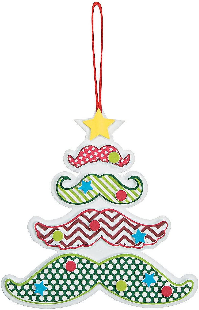 Moustache Tree Ornament Craft Kit - 12 - Crafts for Kids and Fun Home Activities