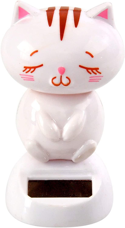 Home-X White Cat Solar Dancer Figure, Solar-Powered Dancing Office Desk Decor, Windowsill or Car Dashboard Decoration