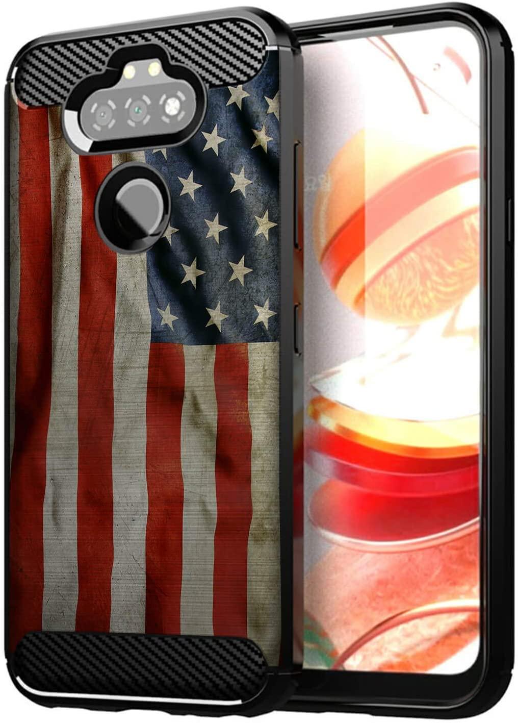 CasesonDeck Slim Case Compatible with [LG Aristo 5/ Fortune 3/ Tribute Monarch/ K31/ Phoenix 5 Case] Thin Scratch Preventing TPU, Matte Finish Carbon Fiber Texture Edges (American Flag)