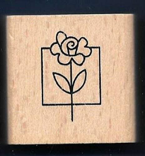 Wooden Rubberized Stamps for Card Making Flower Rose Square Box Design Gift TagNEW Craft Rubber Stamp