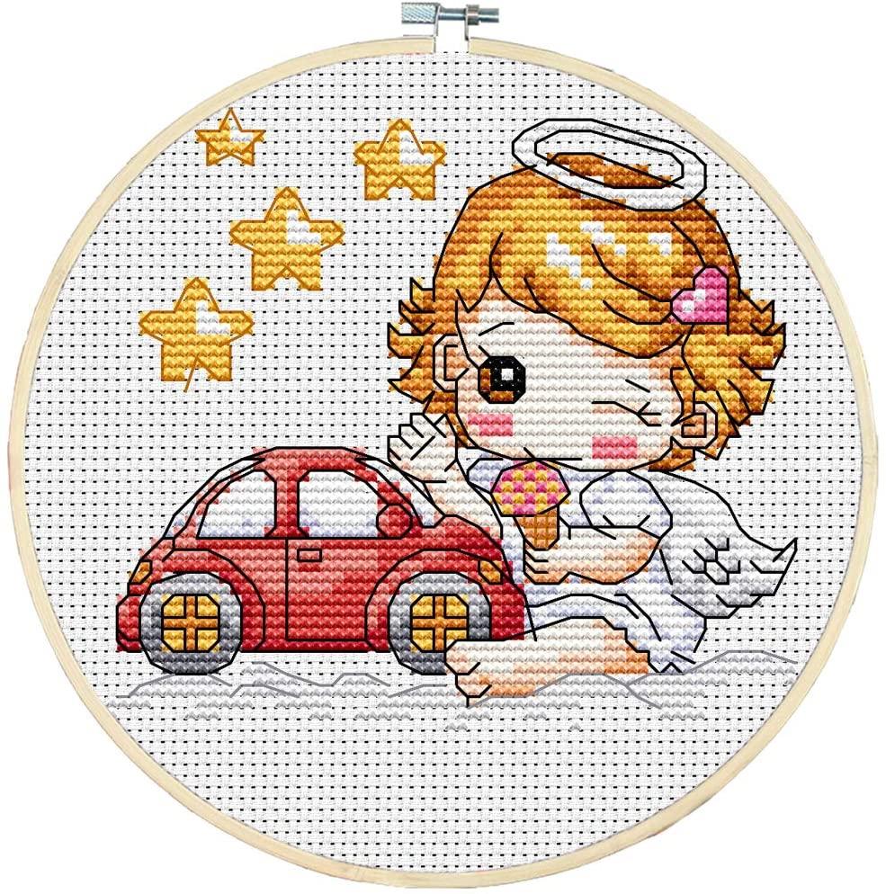 Joy Sunday DIY Needlework Full Range of Embroidery Starter Kits Multiple Pattern Designs Stamped Cross Stitch Kits- The car Girl