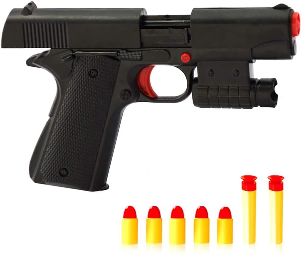 Rivoean Toy Gun - 1 Pcs Black Toy Pistol Realistic 1:1 Scale Colt M1911A1 Rubber Bullet Pistol Mini Pistols