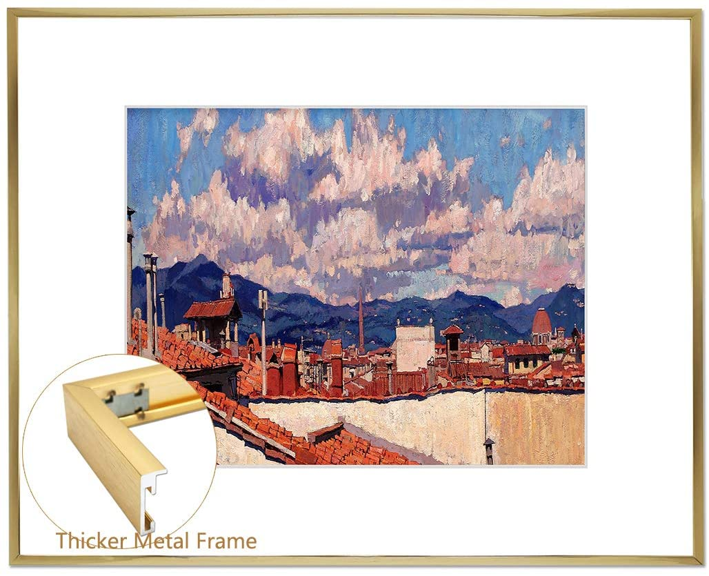 N/F Aluminum Picture Frame 16x20 with White Mat for 11x14 Photos/Pictures,Wall Mounting Metal Easel-Real Glass, Sawtooth Hook -Portrail/Landscape-Metal Collection (Brown Gold)