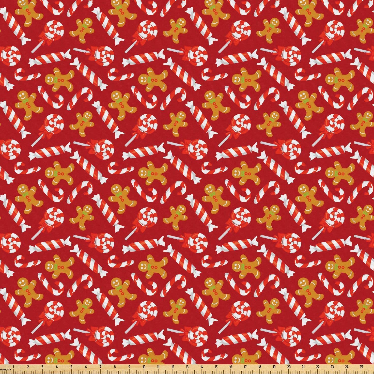 Lunarable Candy Cane Fabric by The Yard, Gingerbread Man and Sweets Traditional Christmas New Year, Microfiber Fabric for Arts and Crafts Textiles & Decor, 10 Yards, Pale Brown Vermilion Red