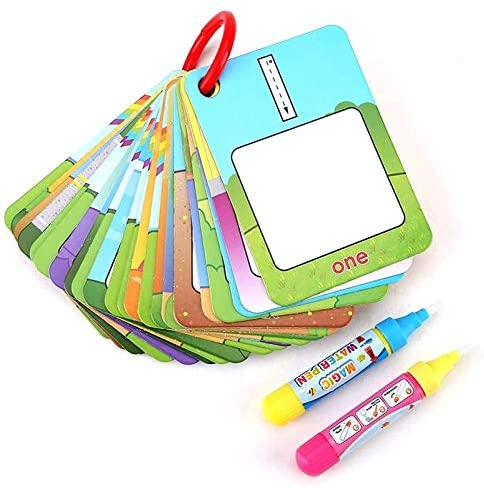 Powstro Water Painting Graffiti Book Card 26pcs Chidrens Early Education Cognitive Cards 1-10 Number Colors and Shapes Colouring Doodle Board + 2 Magic Drawing Pens Games Toy for Toddlers Kids