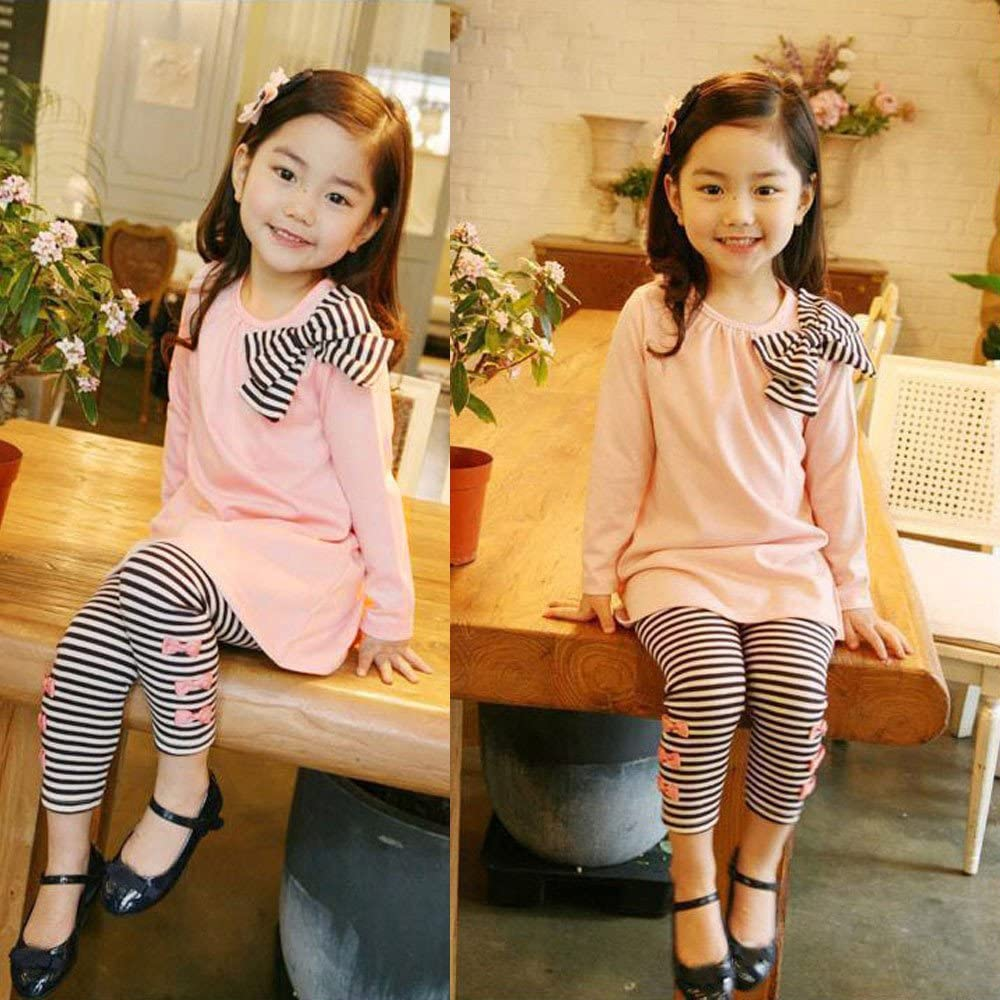 2Pcs Kids Baby Girls Clothing Long Sleeve Bowknot Dress T-Shirt+Stripe Pants Set Baby Kids Outfits Clothes