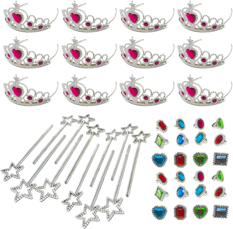 Podzly 48 Piece Princess Jewelry Accessory Toy Pretend Play Set - Tiaras, Princess Wands, Jeweled Rings