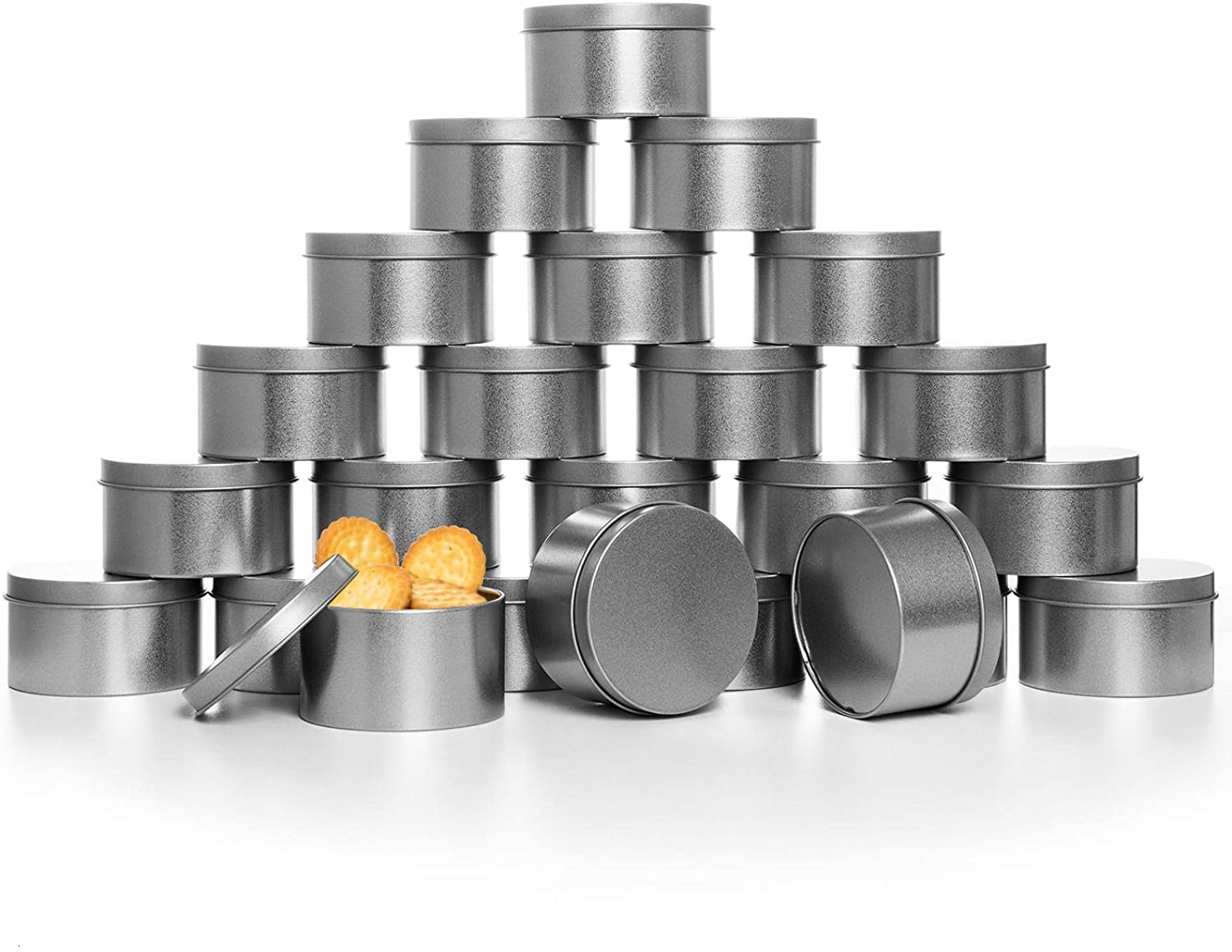 COYMOS Candle Tins, 24 Piece, 4 oz Metal Candle Containers for Making Candles, Arts & Crafts, Dry Storage, Party Favors and More - Round Tin with Slip-On Lids (2.5 x 1.7 inch, Silver)