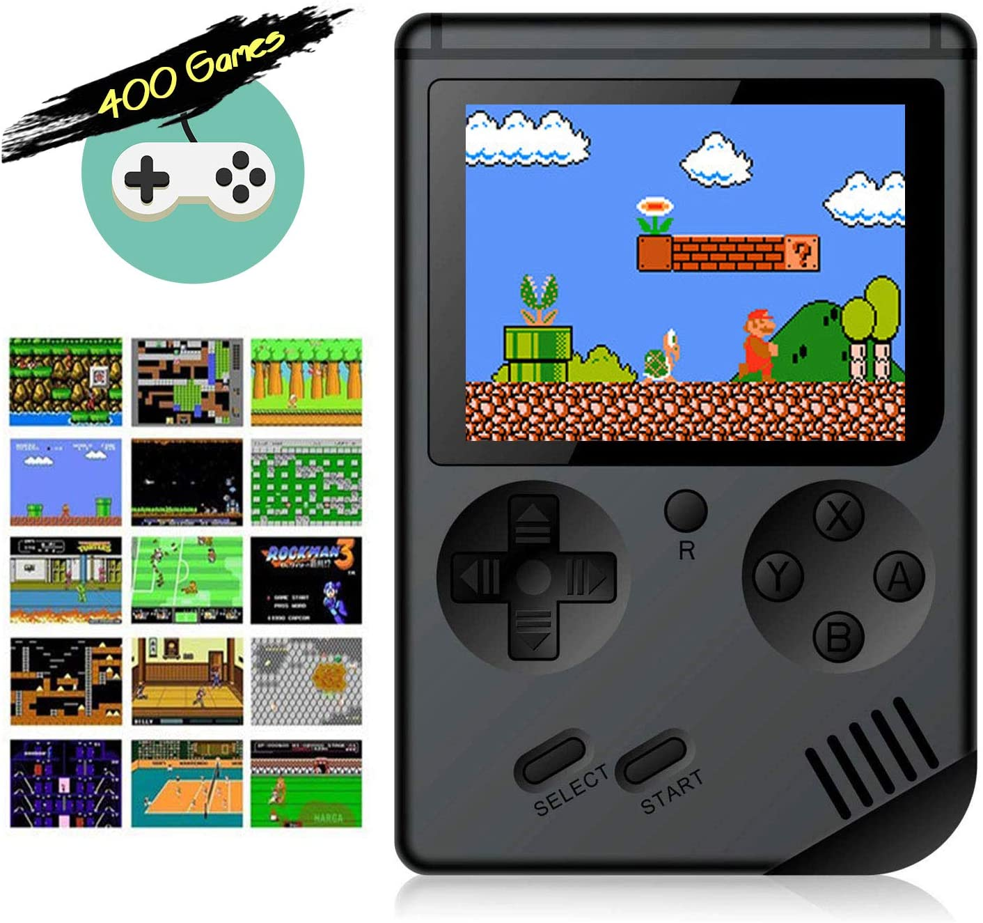 Aisallin Retro FC Handheld Game Console with 400 Classic Games for Kids Adult, 3 Inch HD Screen FC Video Game Console with Much Childhood Fun Support TV Output USB Rechargeable (Black)