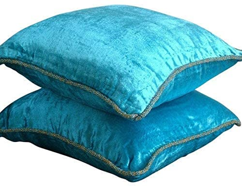 The HomeCentric Pillow Covers Decorative 24x24 Blue, Luxury Turquoise Blue Shams, Solid Color Beaded Cord Pillow Shams, 24x24 inch (60x60 cm) Pillow Shams, Velvet Pillow Sham - Turquoise Shimmer