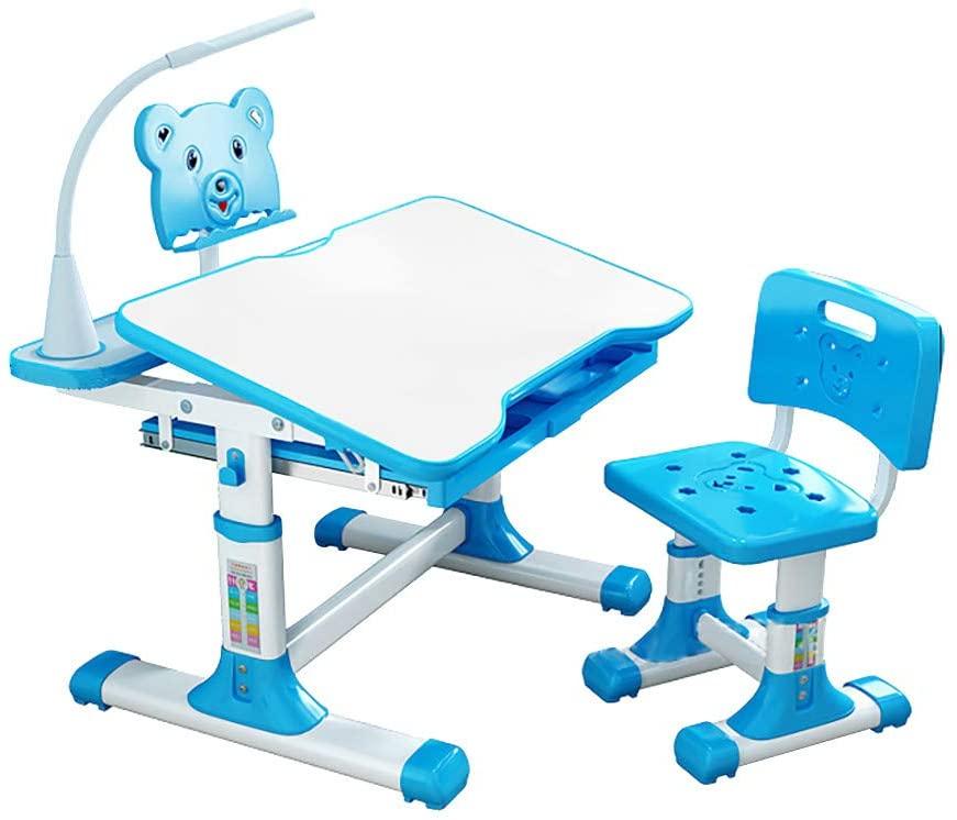 New Kids Desk and Chair Set, Adjustable Study Desk Chair, School and Home Kids Study Table, w/Protect Eye LED Light, Bookstand, Orthosis, Blue/Pink