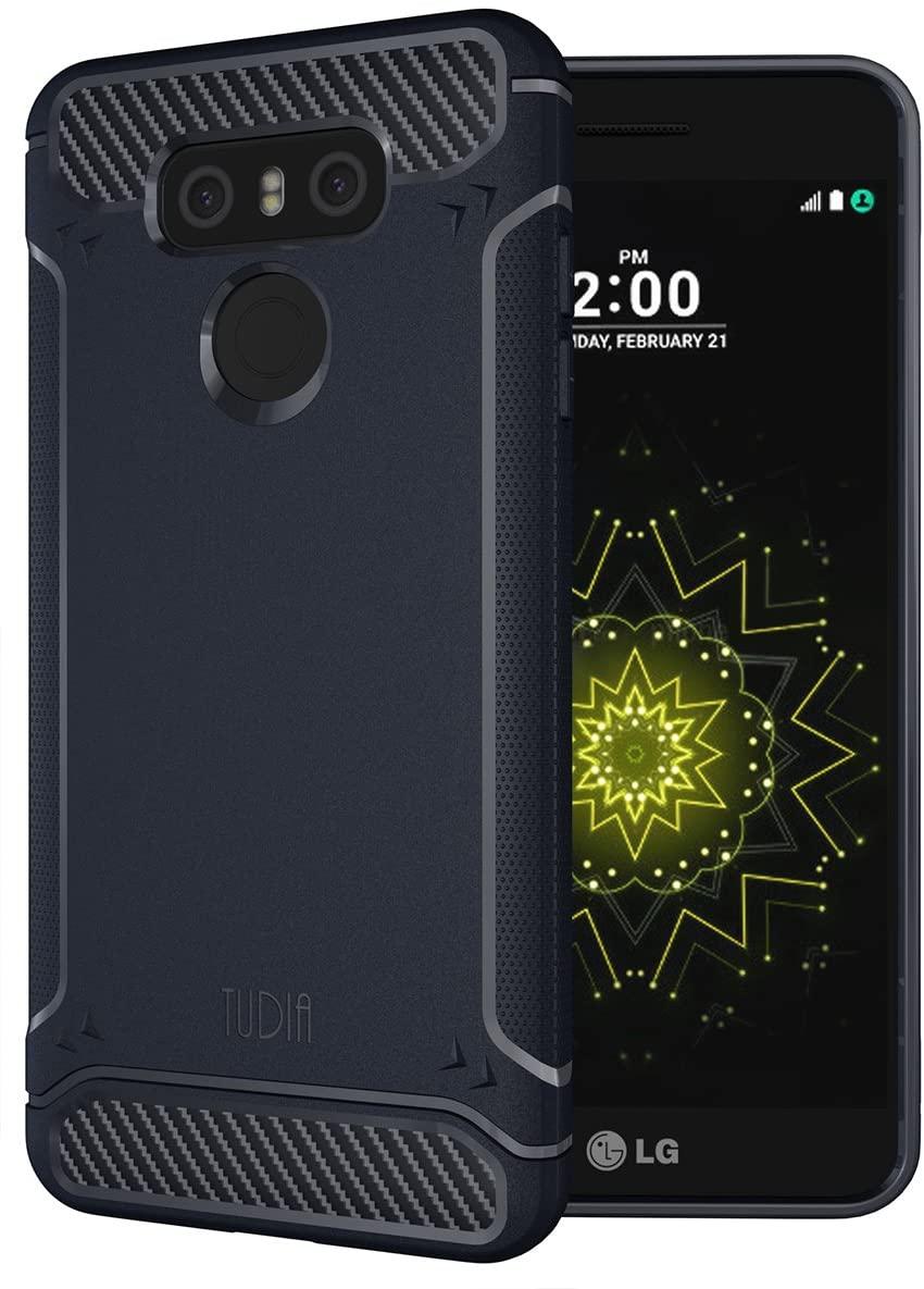 LG G6 Case, TUDIA Carbon Fiber Design Lightweight [TAMM] TPU Bumper Shock Absorption Case for LG G6 (Navy Blue)