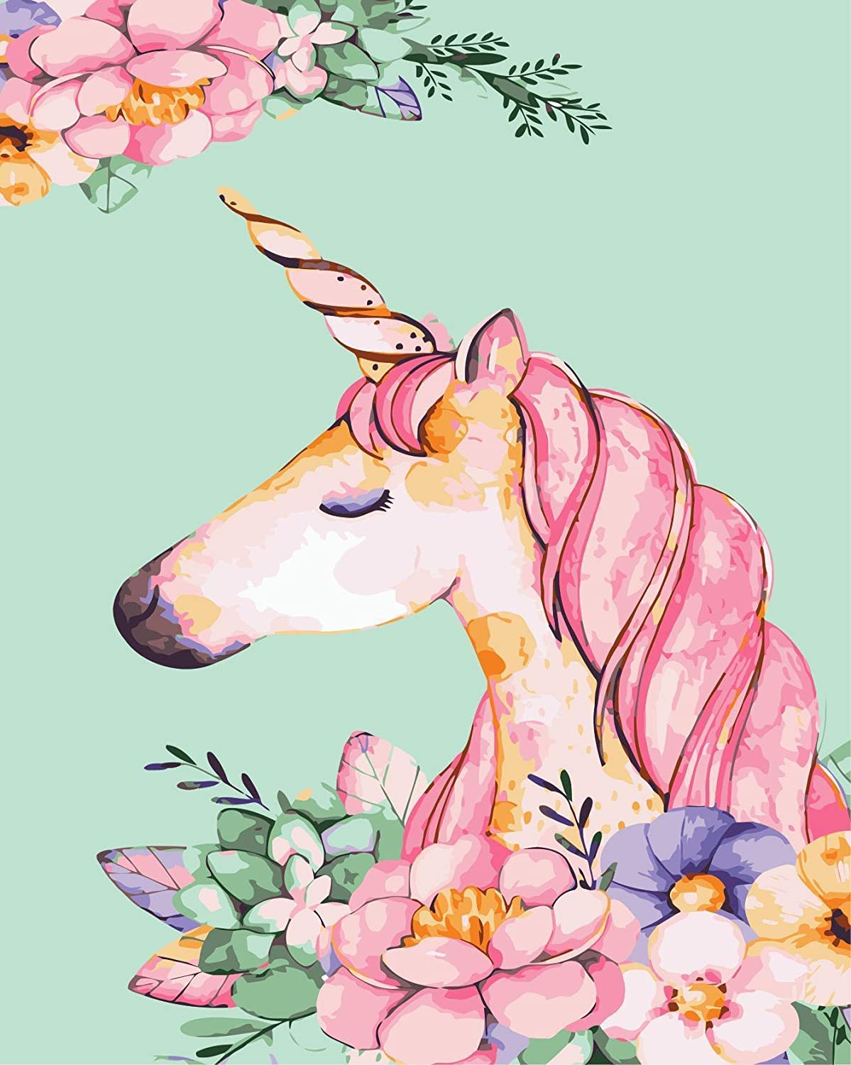 DIY Digital Painting by Numbers Acrylic Kitsfor Adult and Kids Canvas Painting Picture (Unicorn)