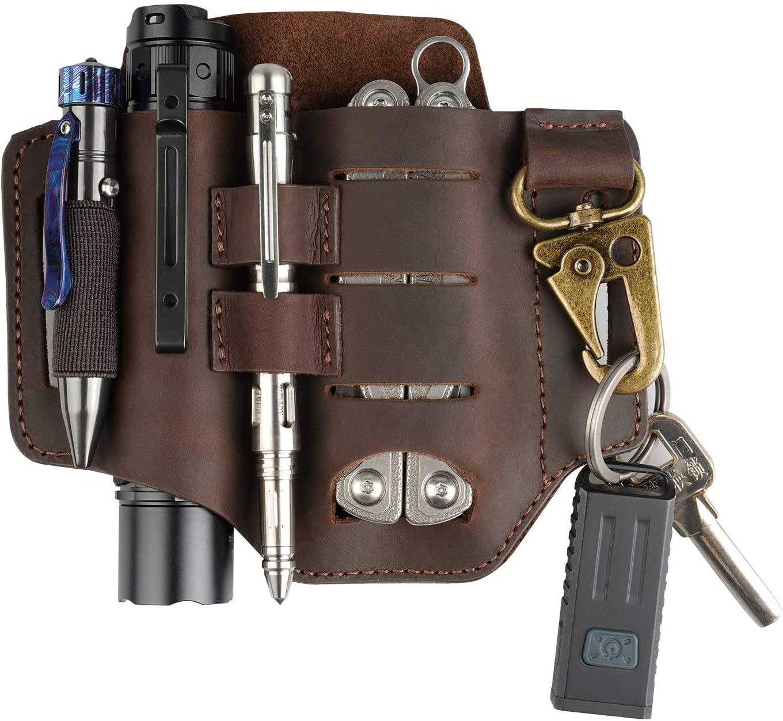 VIPERADE PJ16 Leather Sheath for Belt, Tool Leather Sheath for Knife, Knife Leather Sheath for men, Multitool Sheath for Leatherman, Flashlight Holster EDC Pocket Organizer with Key Holder (Brown)