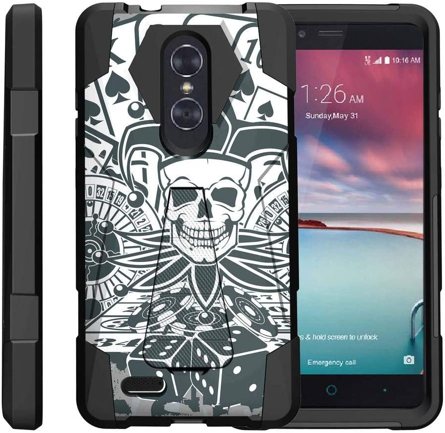 TurtleArmor | Compatible with ZTE ZMax Pro Case | ZTE Blade X Max Case [Dynamic Shell] Dual Hybrid Absorber High Impact Silicone Cover Kickstand Sports and Games - Joker Skull