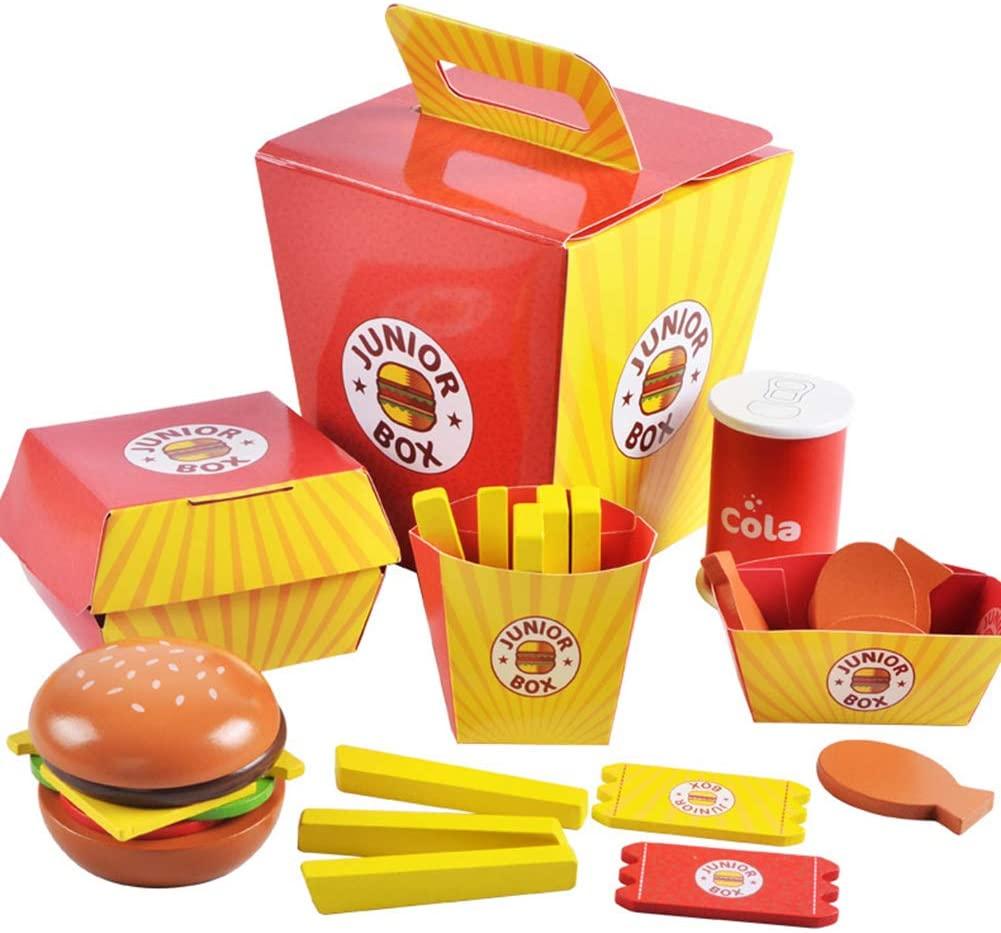 heaven2017 Pretend Play Hamburger Fries Fast Food Set Wooden Toys Kids