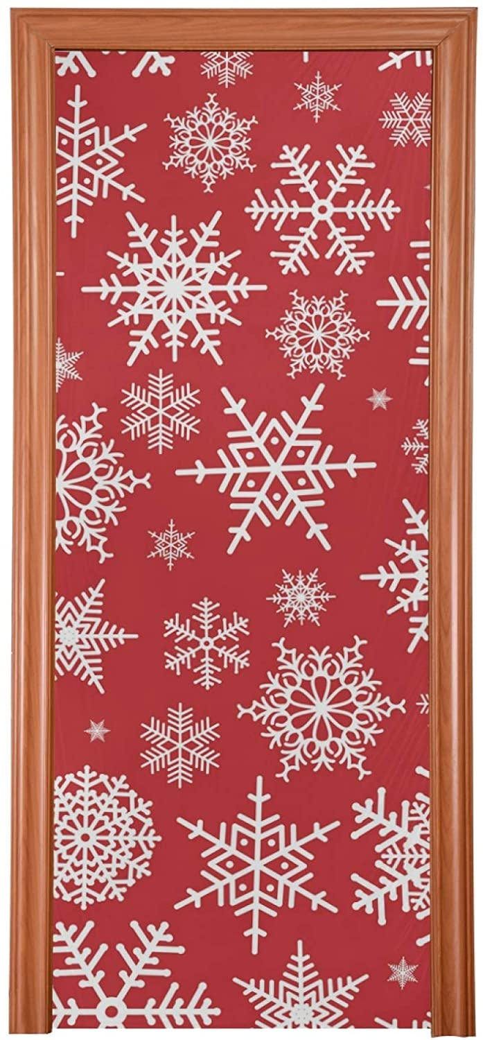 Qilmy Christmas Door Cover Snowfakes Door Decoration Cover for Halloween Thanksgiving Christmas Party Decoration,32 x 79 Inch