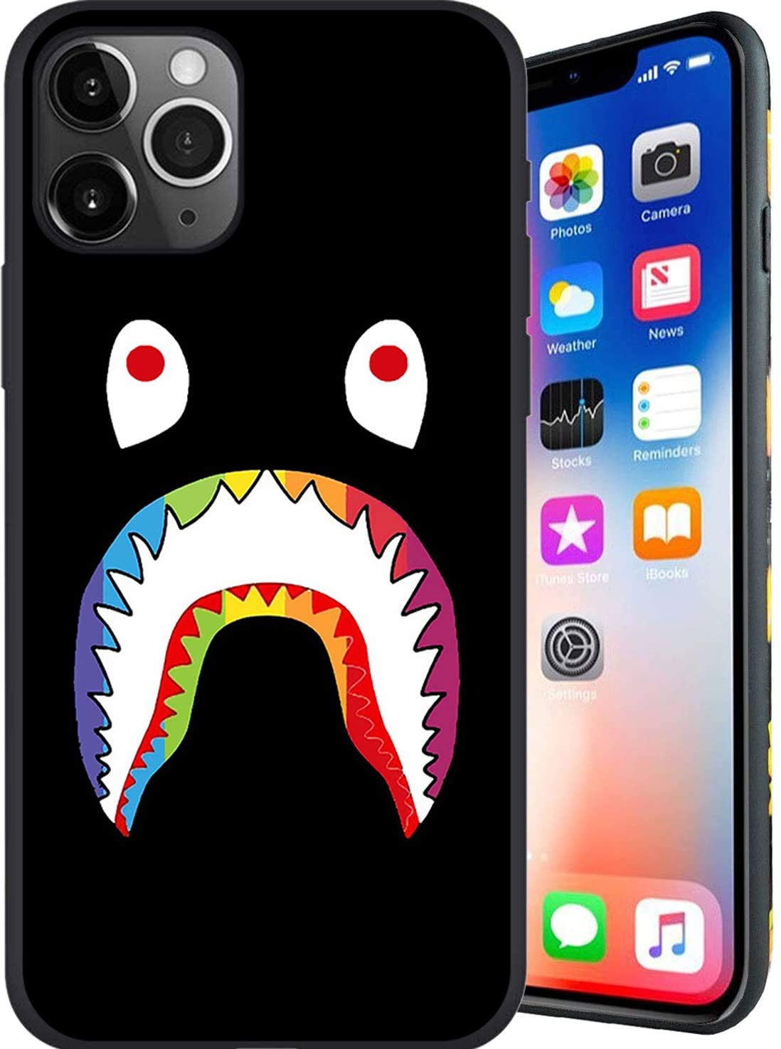 Shark Designed for iPhone 11 Pro Max Case, Fashion Slim Protective Cases Cover, Anti Scratch Unfading Coloring Premium Slim Fit Soft Cover, Compatible with 6.5 inch Case (Bape-Shark Black)