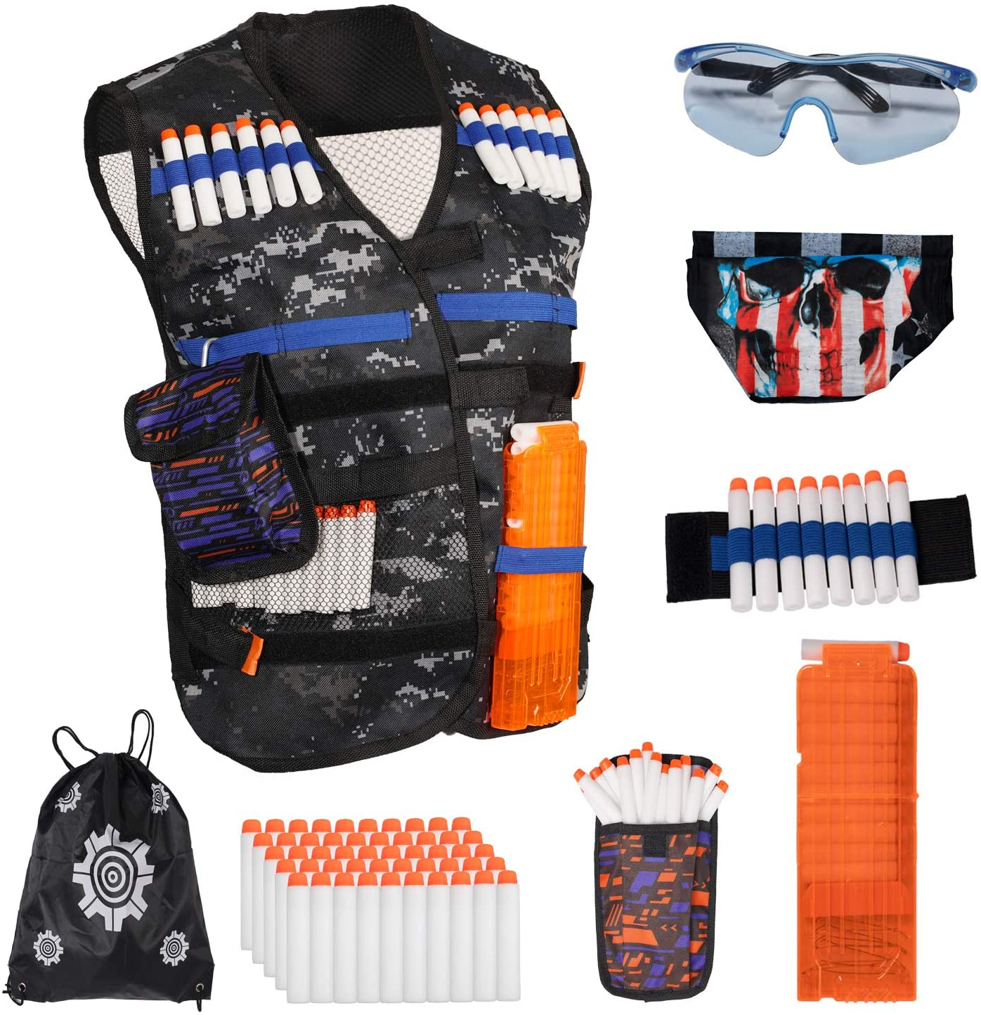 Vinciph Tactical Jacket Vest Kit for Nerf Guns with Refill Darts Dart Pouch, 50 Luminous Bullets,Reload Clip Tactical Mask Wrist Band and Protective,Glasses Stem Toys Gift for 5-15 Year Old Boys