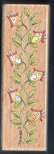 Wooden Rubberized Stamps for Card Making Birdhouse Ivy Beanstalk Leaves Border Design Wood Hobby Rubber Stamp