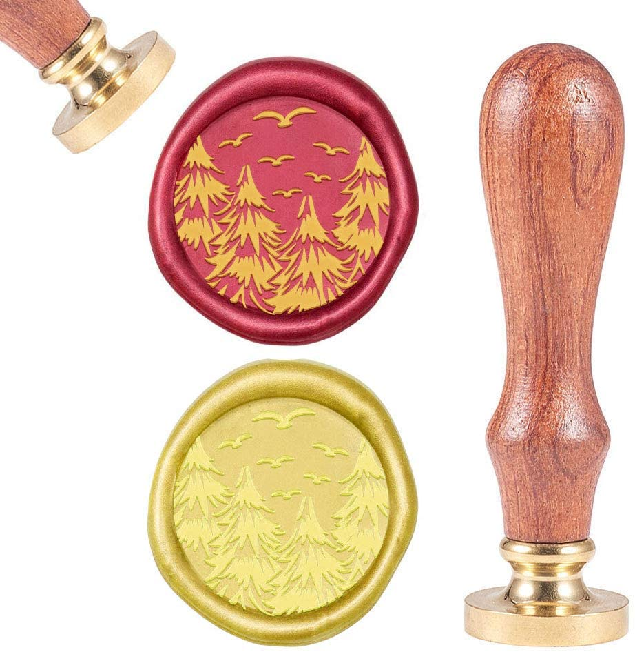 CRASPIRE Wax Seal Stamp Pine Tree Vintage Wax Sealing Stamps Retro 25mm Removable Brass Head Wooden Handle for Envelopes Invitations Wine Packages Greeting Cards Weeding