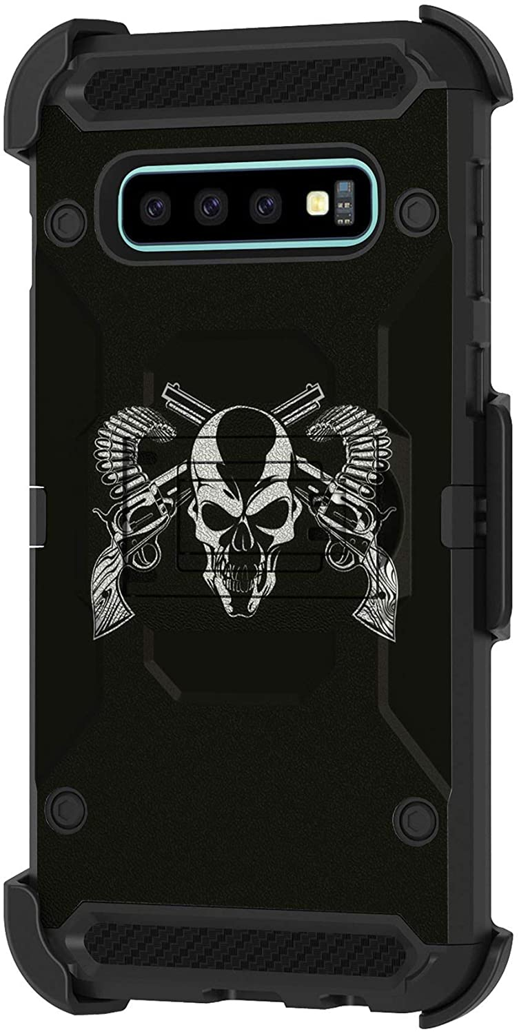 TurtleArmor | Compatible with Samsung Galaxy S10 Case | S10 Case | G973 [Armor Pro] Full Body Protection Armor Hybrid Kickstand Rugged Cover Holster Belt Clip Case - Mercenary Skull