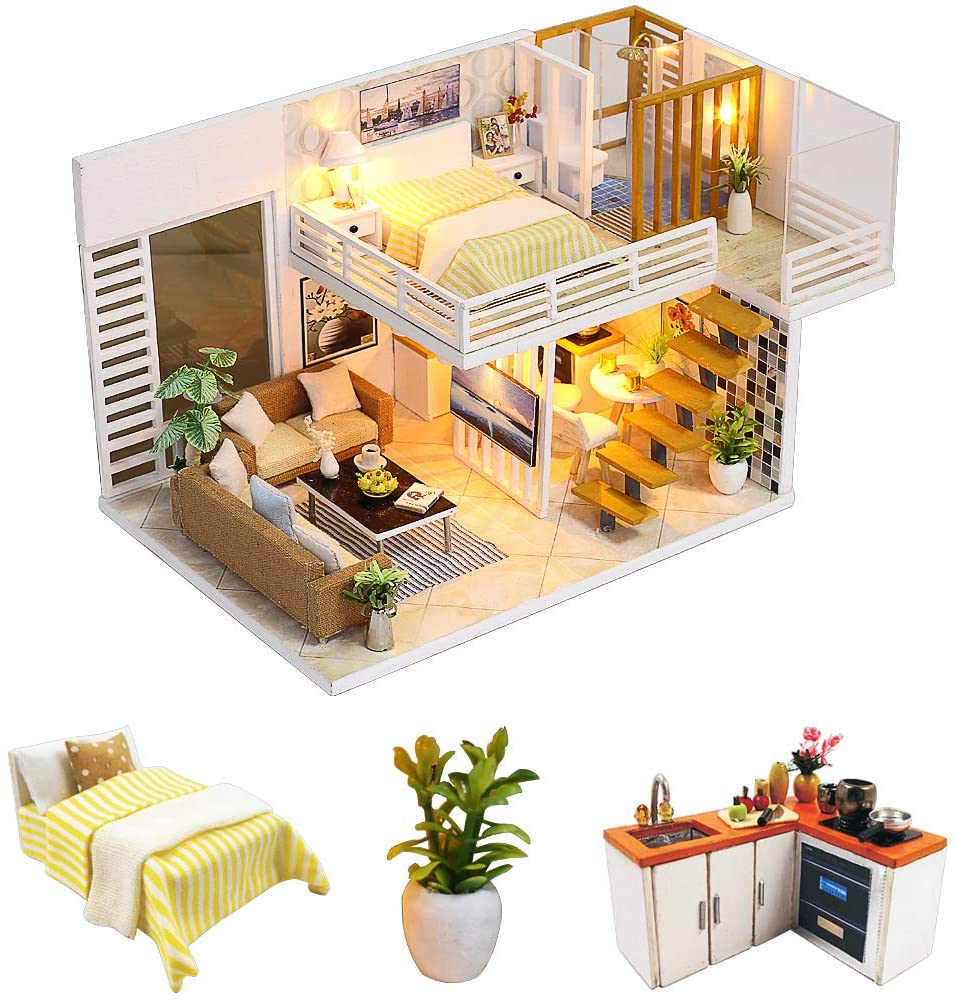 N-A DIY Miniature Dollhouse Kits Wooden Mini Doll House 1:24 Scale Creative Furniture Toys Room with Dust Cover and Music Movement(Simple and Elegant)