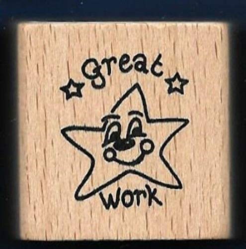Wooden Rubberized Stamps for Card Making Great Work Happy Star Teacher Award2002 New Rubber Stamp