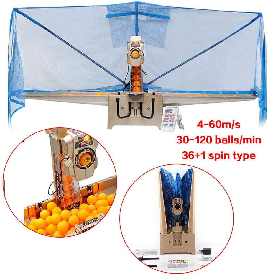 Gyheung Ping Pong Ball Machine,Automatic Table Tennis Robot, Ball-Machine for Training Table Tennis Robot w/Catch Net Top Version 36 Spinning