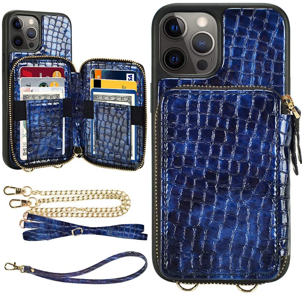 LAMEEKU iPhone 12 Pro Max Wallet Case, iPhone 12 Pro Max Card Holder Case, Stone Pattern Zipper Leather Case with Card Slot Crossbody Chain, Protective Cover for iPhone 12 Pro Max 6.7''-Blue