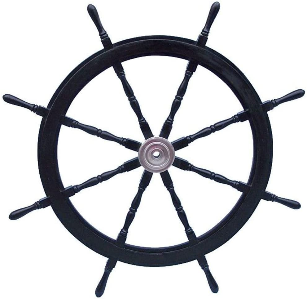 Hampton Nautical Deluxe Class Black Wood and Chrome Pirate Decorative Ship Steering Wheel 48
