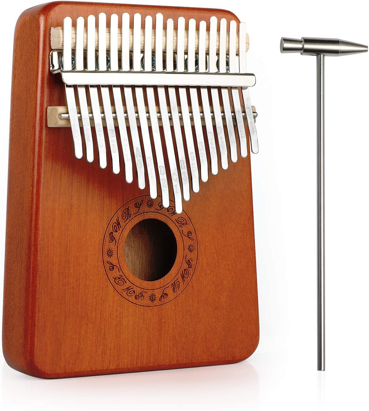 Haton Kalimba, 17 Keys Thumb Piano With Study Instruction and Tune Hammer, Portable Mbira Africa Wood Finger Piano, Easy to Learn Music Instrument Gift for Kids Adult Beginners Professional